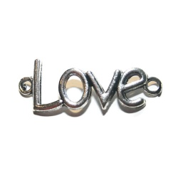 1 Grand connecteur love métal argenté