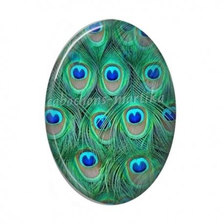 Cabochon Résine Ovale - plume