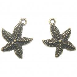 1 Breloque étoile de mer métal bronze