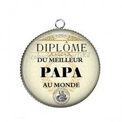 Pendentif Cabochon Argent - diplôme du meilleur papa au monde