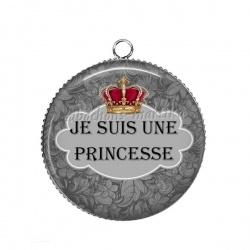 Pendentif Cabochon Argent - je suis une princesse