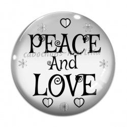 Cabochon Verre - peace and love
