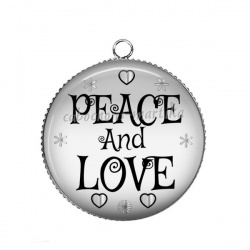 Pendentif Cabochon Argent - peace and love