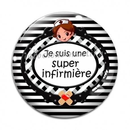 e7fe58e3bf08f Cabochon Verre - je suis une super infirmière - Cabochons Martika
