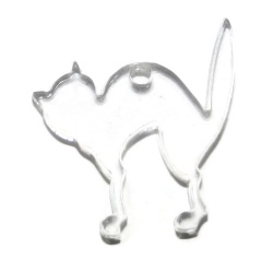Pendentif chat plexiglass transparent