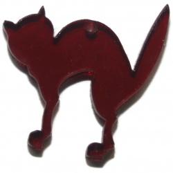 Pendentif chat plexiglass rouge bordeaux