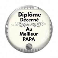 Cabochon Verre - diplôme décerné au meilleur papa