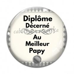Cabochon Verre - diplôme décerné au meilleur  papy