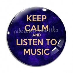 Cabochon Verre - keep calm and listem to music