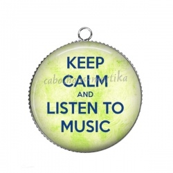Pendentif Cabochon Argent - keep calm and listem to music