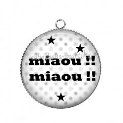 Pendentif Cabochon Argent - miaou !!! miaou !!!