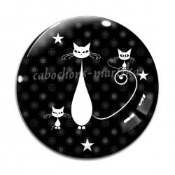 Cabochon Verre - chat noir