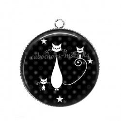 Pendentif Cabochon Argent - chat noir