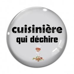 Cabochon Verre - cuisinière qui déchire