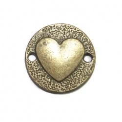 1 connecteur coeur métal bronze
