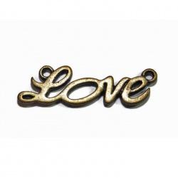 3 Connecteurs LOVE métal bronze