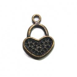 5 Breloques coeur métal bronze