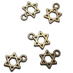 10 breloques étoiles métal bronze
