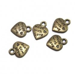 10  Breloques coeur métal bronze