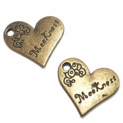 1 Breloque coeur métal bronze
