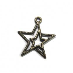 5 breloques étoile double bronze