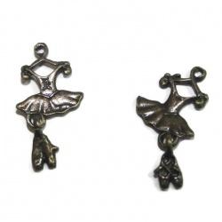 5 breloques tutu de danse métal bronze
