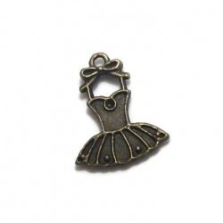 Breloque robe dentelle métal bronze