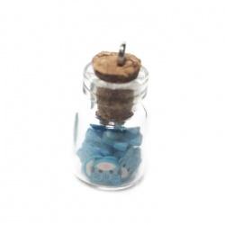 1 pendentif fiole chat bleu