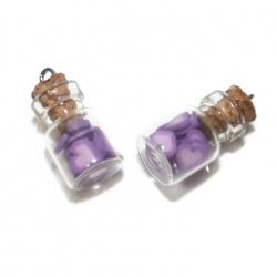 1 pendentif fiole coeur violet