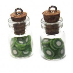 1 pendentif fiole kiwi
