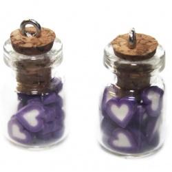 1 pendentif fiole coeur violet foncer