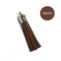 Pompon suédine 6 cm marron et argent