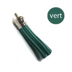 Pompon suédine 6 cm  vert et argent