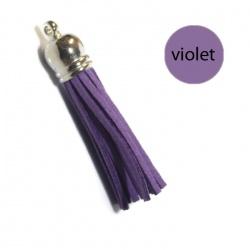 Pompon suédine 6 cm violet et argent