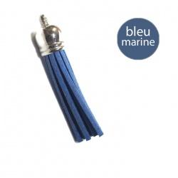 Pompon suédine 6 cm bleu marine et argent