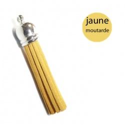 Pompon suédine 6 cm jaune moutarde et argent