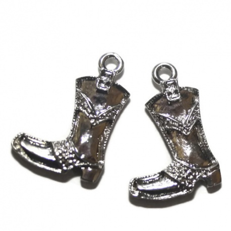 5 breloques bottes métal argenté