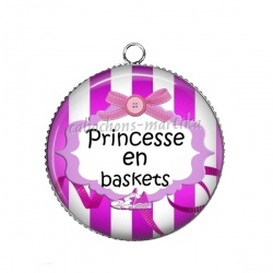 Pendentif Cabochon Argent - princesse en baskets