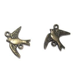 5 connecteurs oiseaux métal bronze