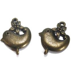5 connecteurs oiseaux fleur métal bronze