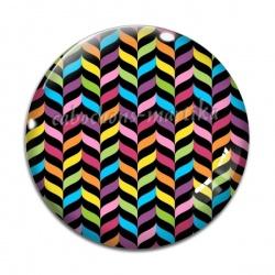 Cabochon Verre - rayure multicolore