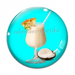 Cabochon Verre - cocktail  Piña colada