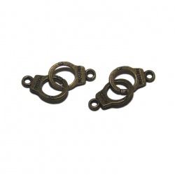 5 breloques menottes métal bronze
