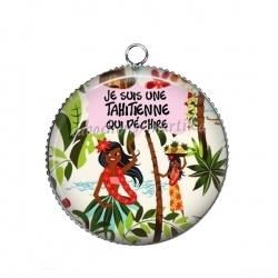 Pendentif Cabochon Argent - je suis une tahitienne qui déchire