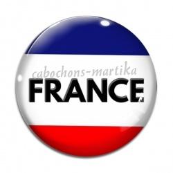 Cabochon Verre - drapeau france