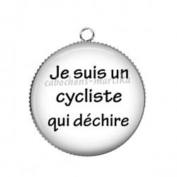 Pendentif Cabochon Argent - je suis un cycliste qui dechire