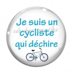 Cabochon Verre - je suis un cycliste qui déchire