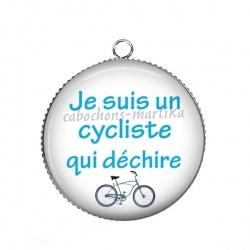 Pendentif Cabochon Argent - je suis un cycliste qui déchire