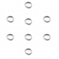 anneaux doubles 6 mm métal argenté