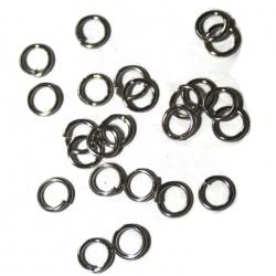 50  anneaux ouverts 6 mm métal argenté foncé qualité pro